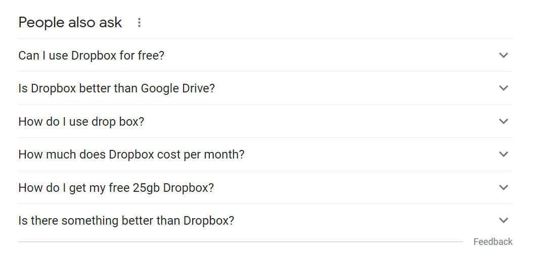 People also ask box example for Dropbox.