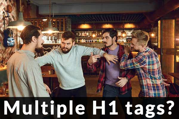 Bar Fight Meme of SEOs fighting about H1 heading tags