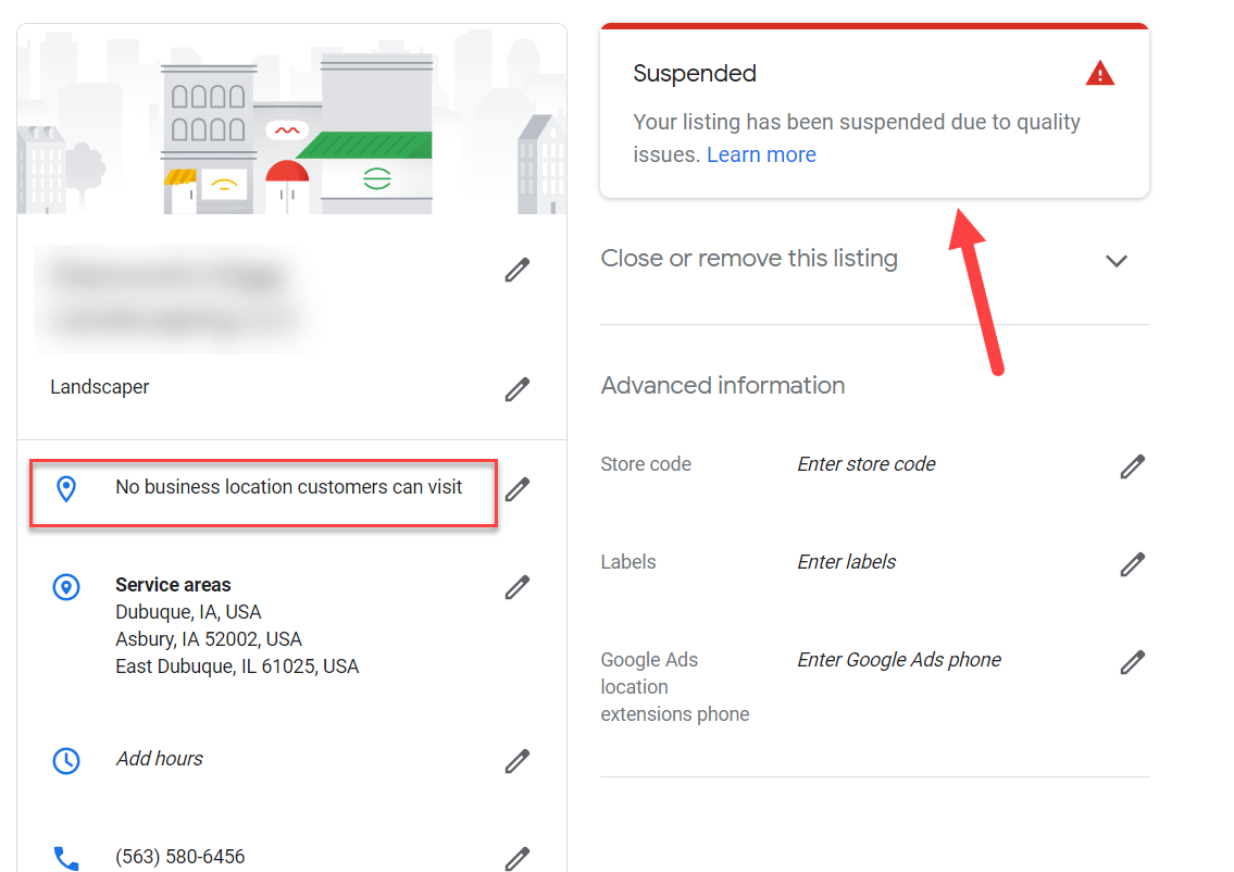 Suspended Google My Business Listing.