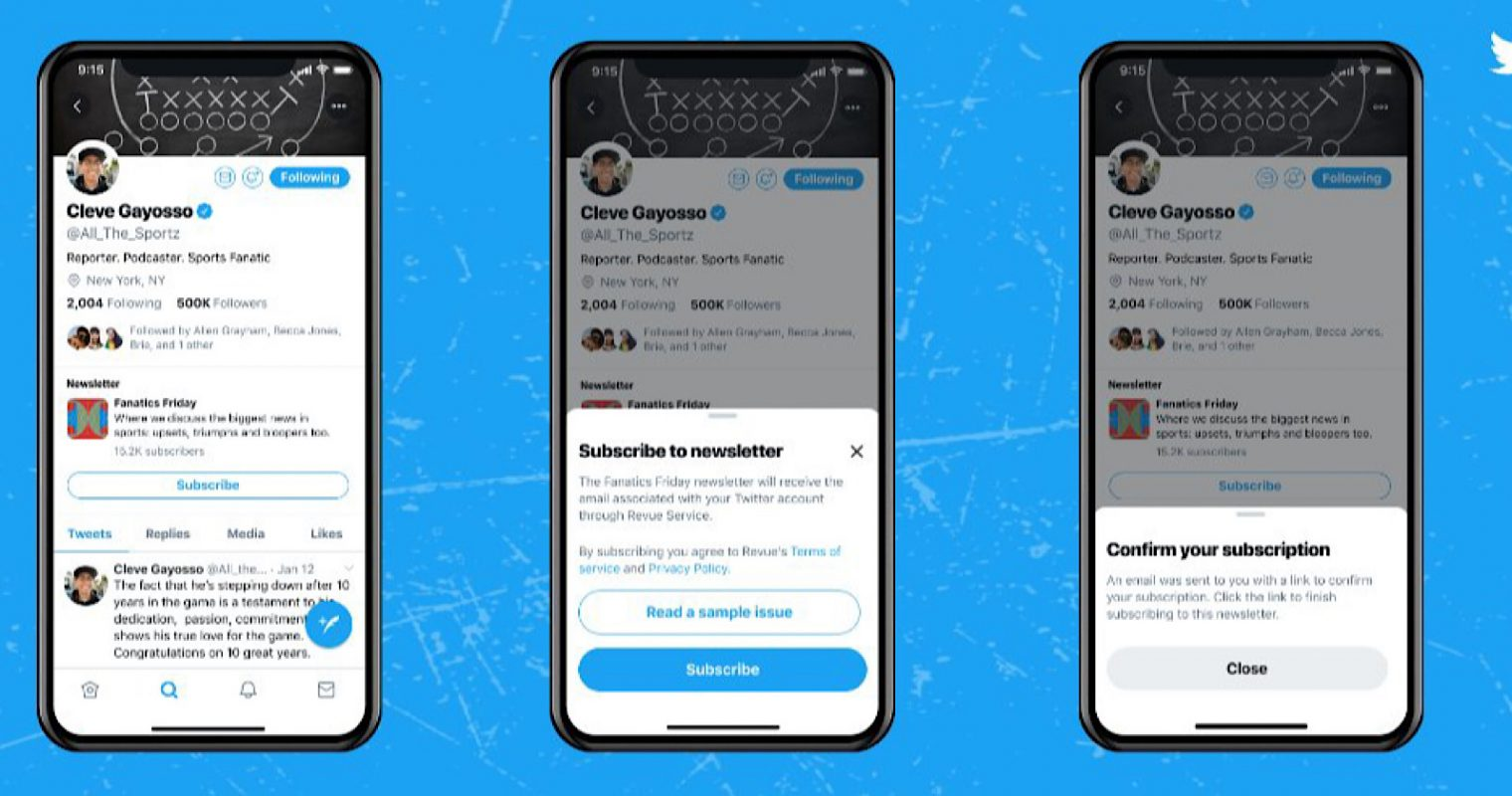Twitter Adding 'Subscribe' Button to Profiles For Newsletter Signups