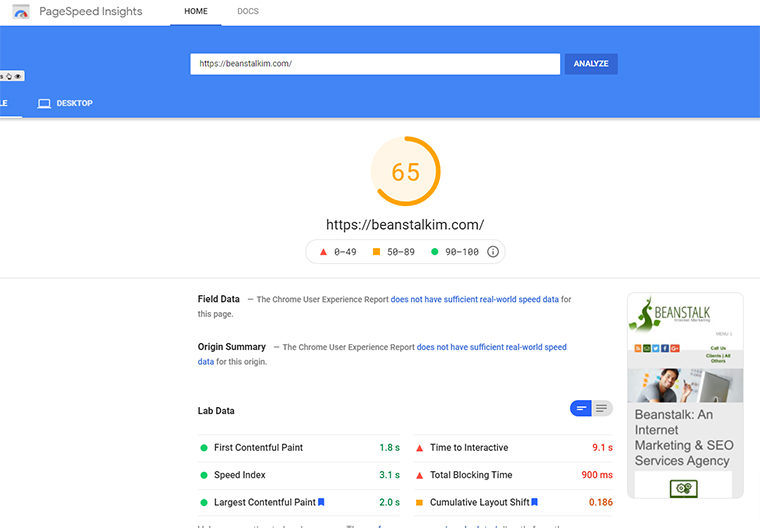 PageSpeed Insights on Beanstalk's website with Cloud Flare's free version.