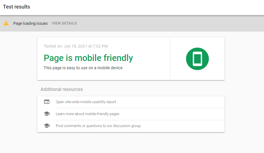 Example results of a Google mobile-friendly test.