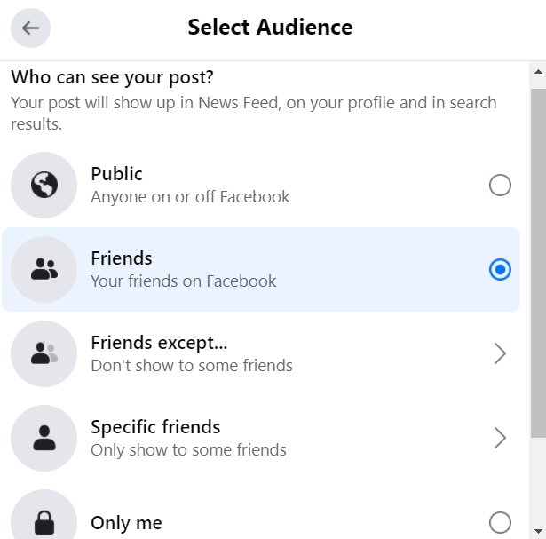 Post visibility options on Facebook.
