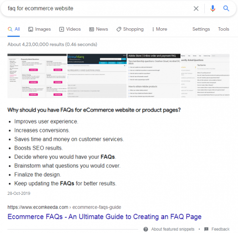 Unordered listicle featured snippets example.