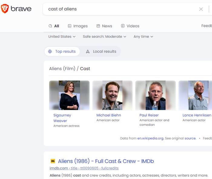 Brave Search for Movie Cast