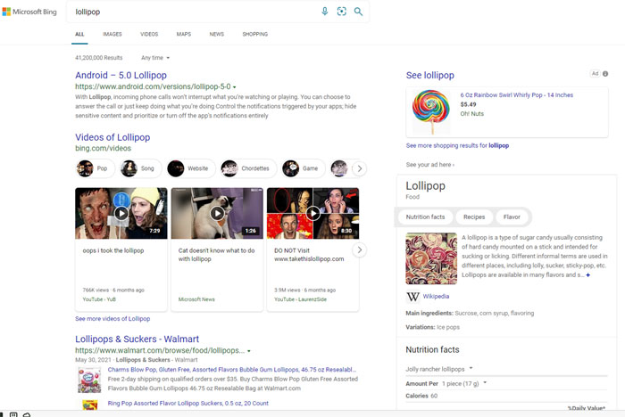 Screenshot of Bing Search results for lollipop