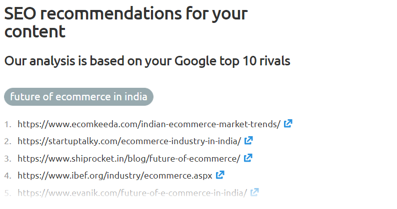 SEO Recommendations by SEO Content Tool.