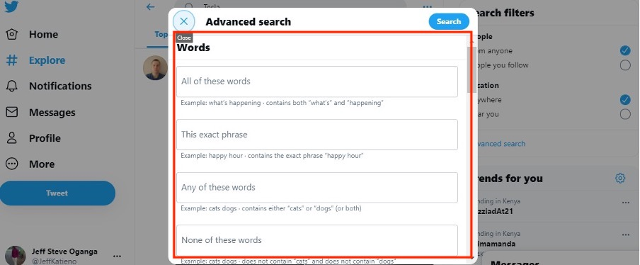 Search fields for Twitter Advanced Search