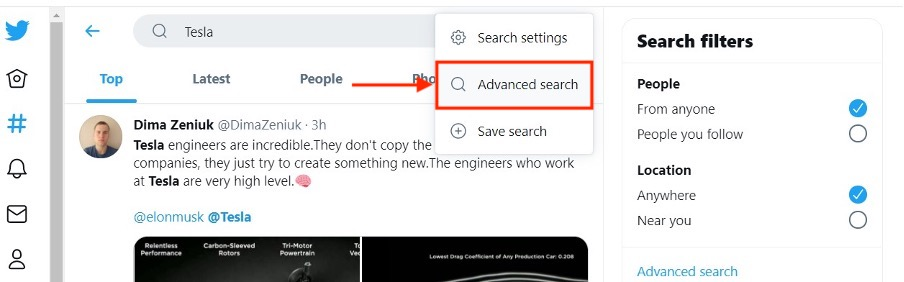 Clicking will open the option for advanced search.