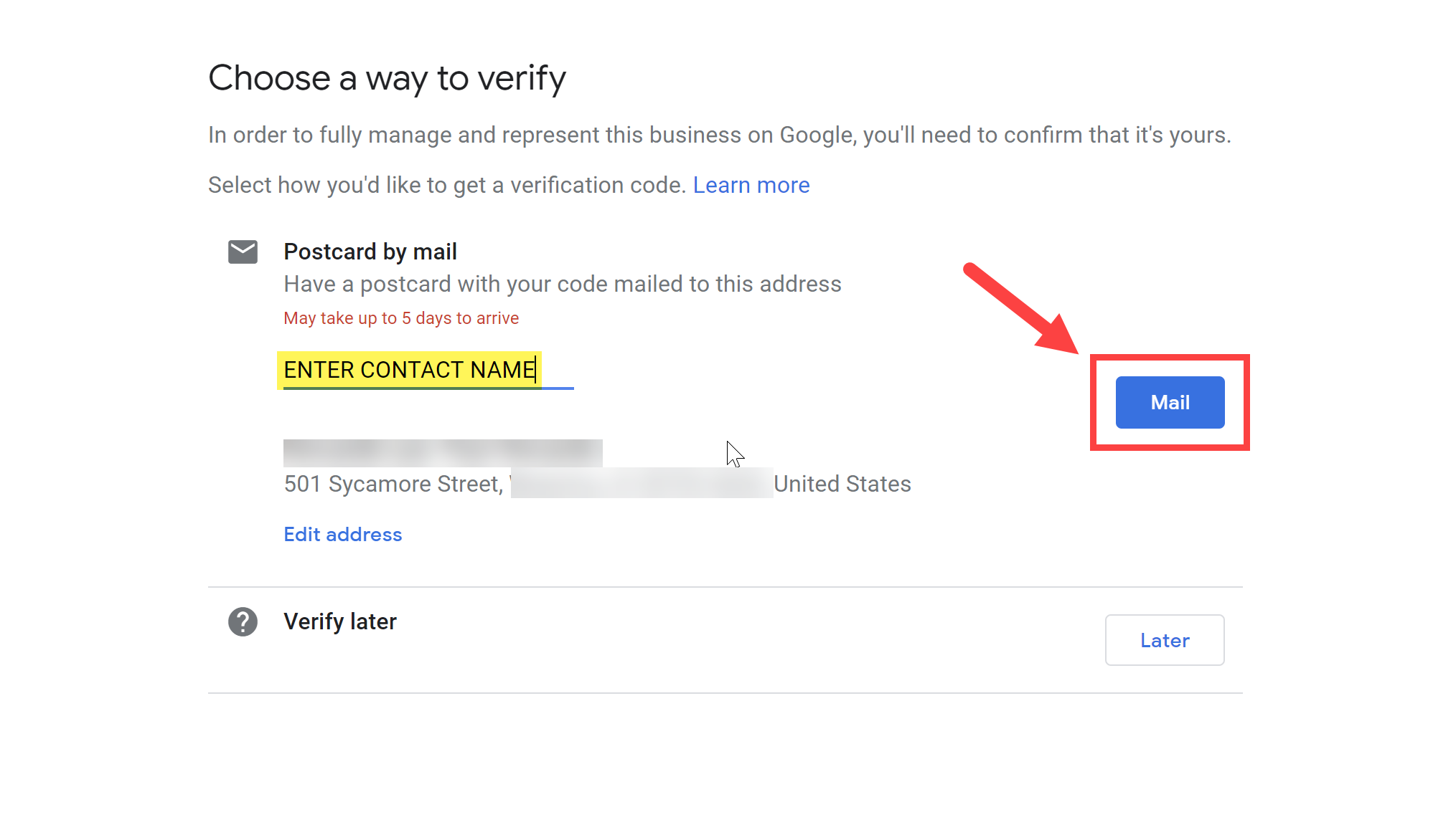 Choose Mail as a way to verify.