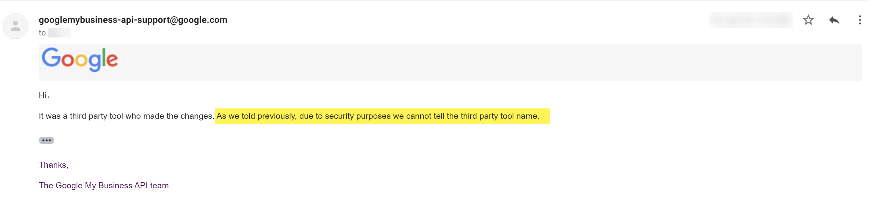 GMB support will not tell you which third-party tool caused the issue.