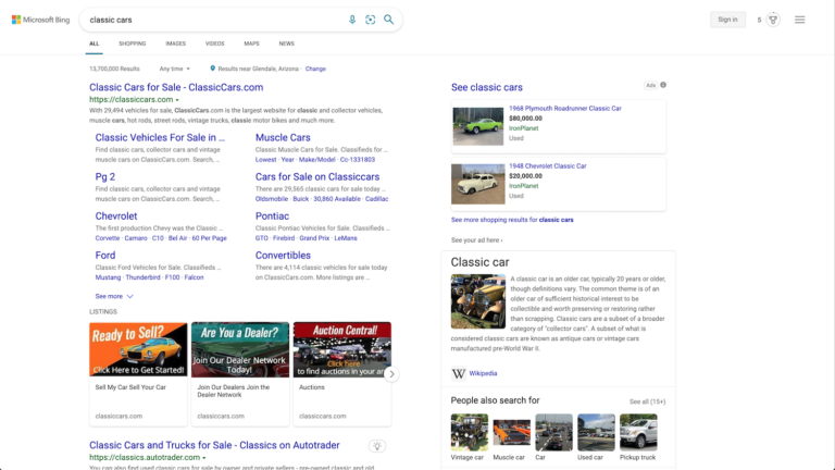 """Microsoft Bing SERP results for """"classic cars."""""""