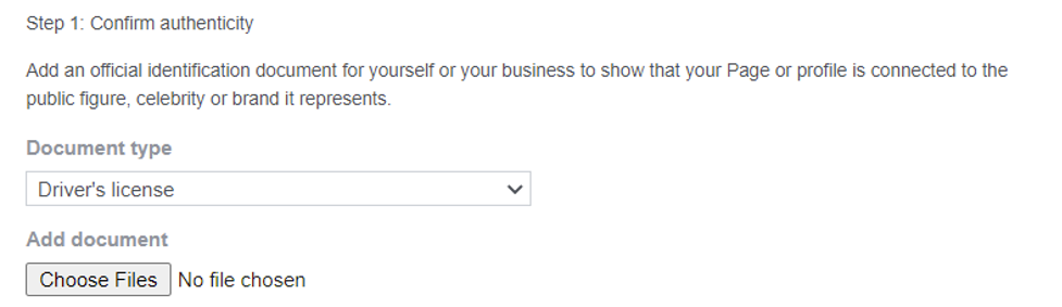 Step to confirm authenticity of page or profile.
