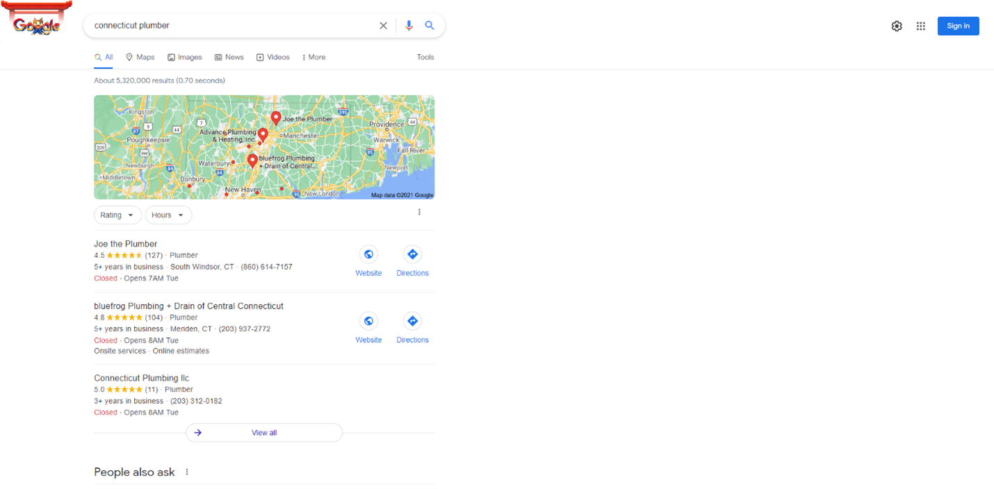 """SERP results for """"Connecticut Plumber."""""""