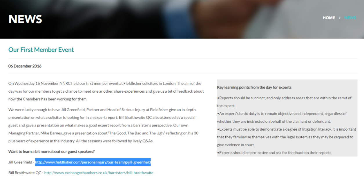 External link example use case for author profile page.
