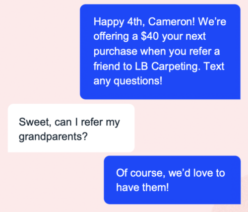 LB Carpeting - SMS example