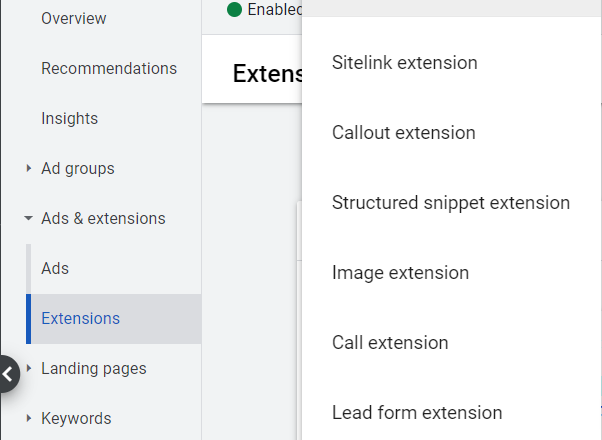 Create a new lead form extension for existing campaigns.