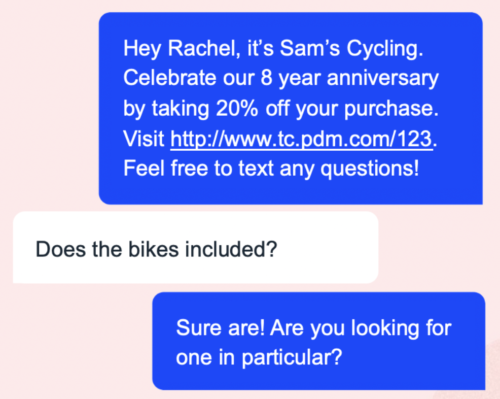 Sam's Cycling - SMS example