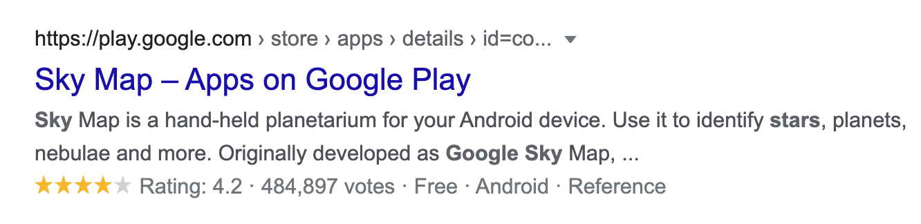 Star ratings present in app store results on Google