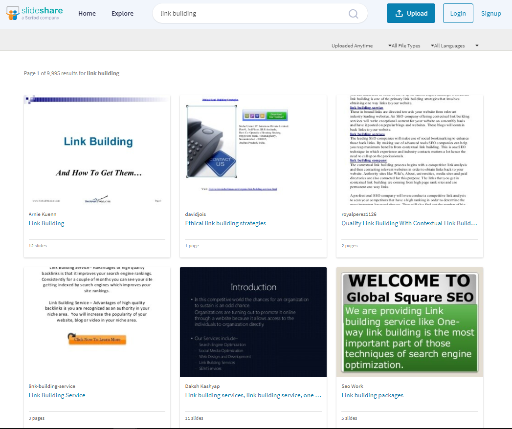 Slideshare search results.