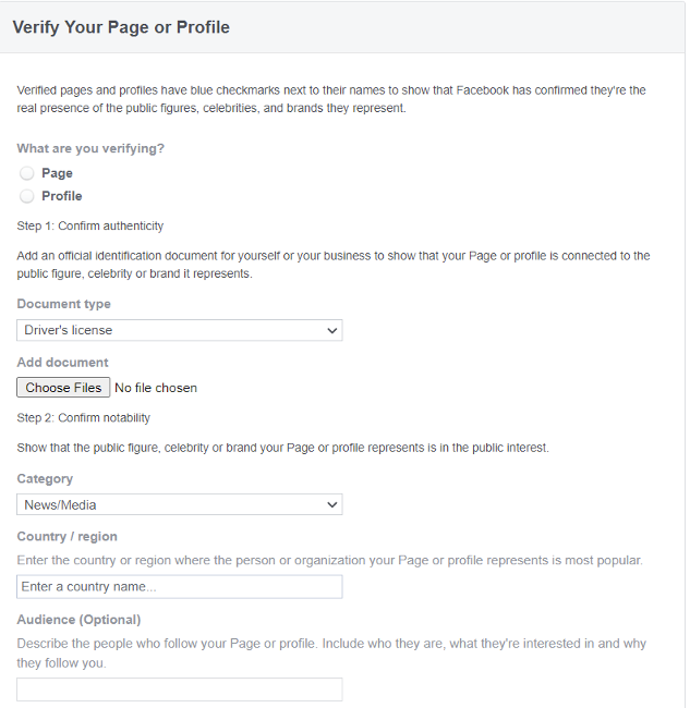 Online form from Facebook's verification request page.