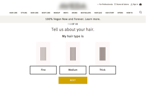 How Aveda masters personalized on-site content.