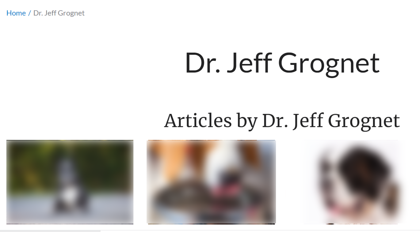 Name written of Dr. Jeff Grognet in his author bio.
