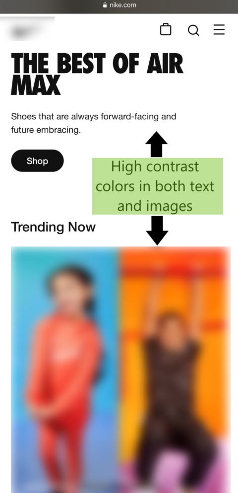 Website with high contrast colors to create mobile-friendly content.