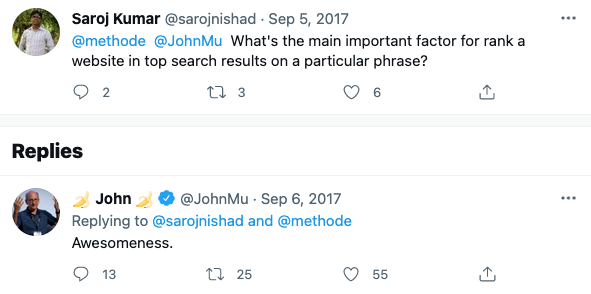 John Mueller reply about ranking factors.
