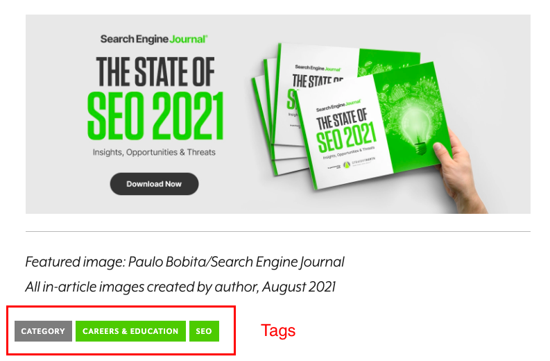 Example of how Search Engine Journal uses tags to organize content.