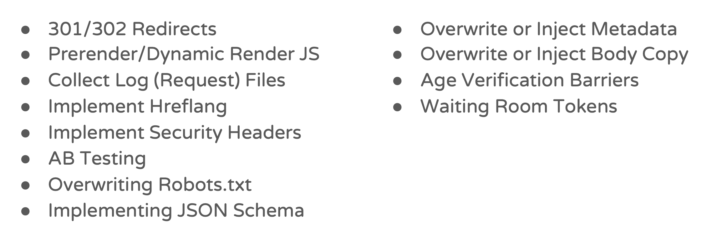 Potential edge SEO applications and automations.
