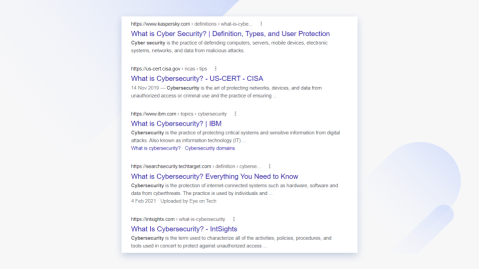What is cybersecurity google results.