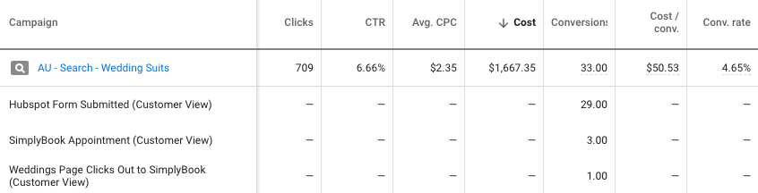 Example of segmentation by type of conversion.