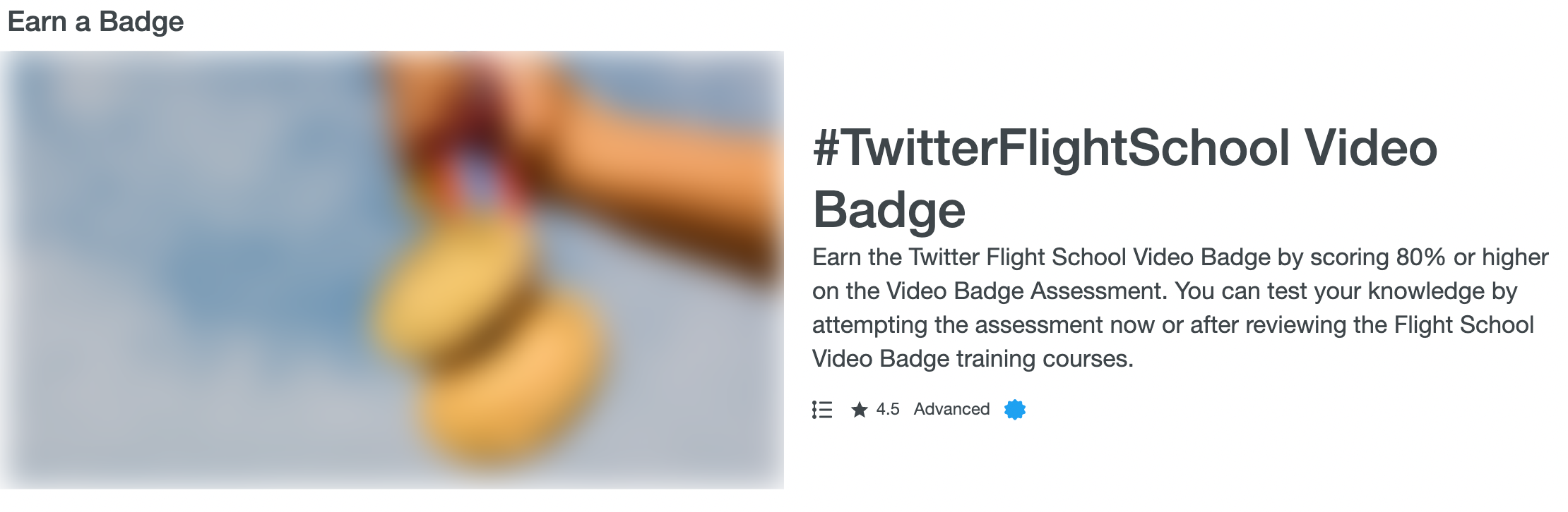 Earning badges and certifications from Twitter Flight School.