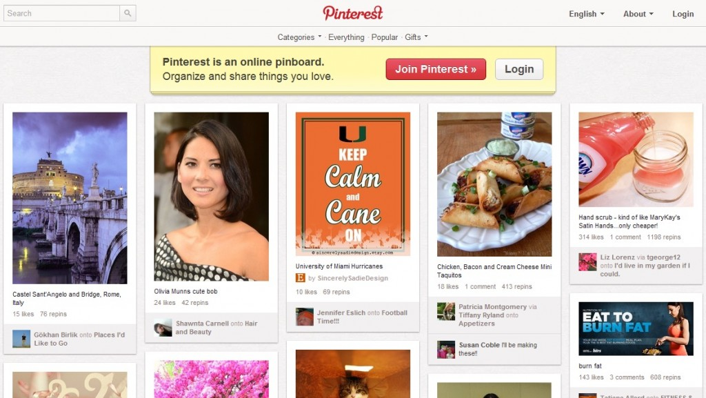 Pinterest Sign Up and Home Page