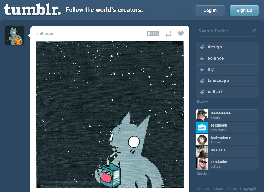 Tumblr Log In and Sign Up Page
